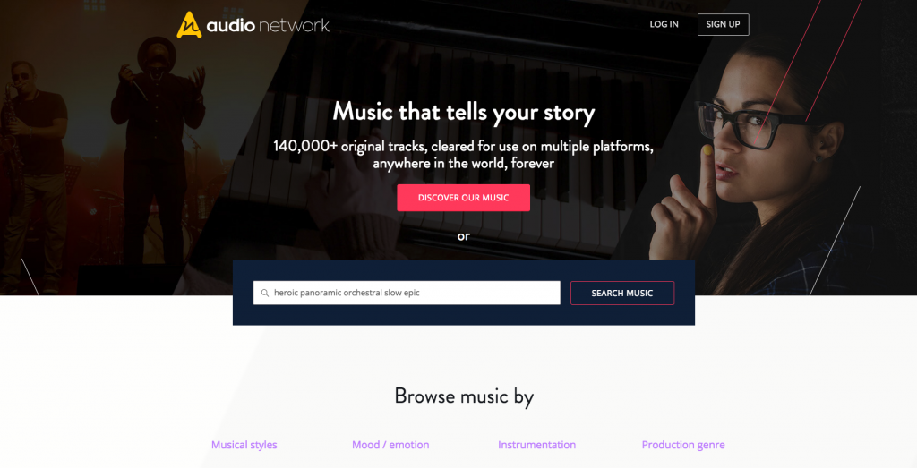 background music for video website review Audio Network